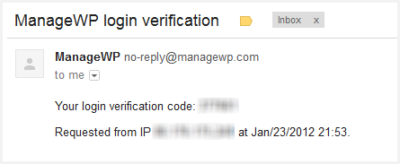 a screenshot of the email you would receive from ManageWP with the verification code