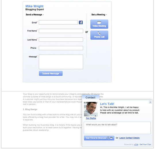 Contact Form by vCita WordPress plugin.