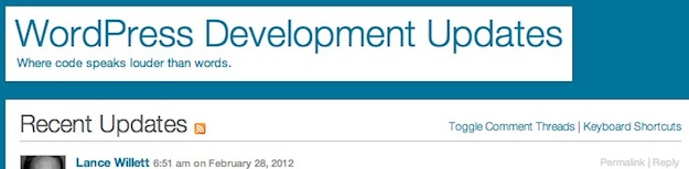 WordPress Development Updates Blog