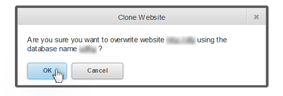 the popup asking if you want to clone your website