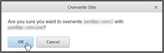 the confirmation messgae asking if you are sure you want to overwrite your site.