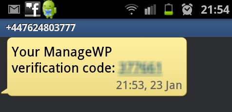 a screenshot of the sms you would receive from ManageWP with the verification code