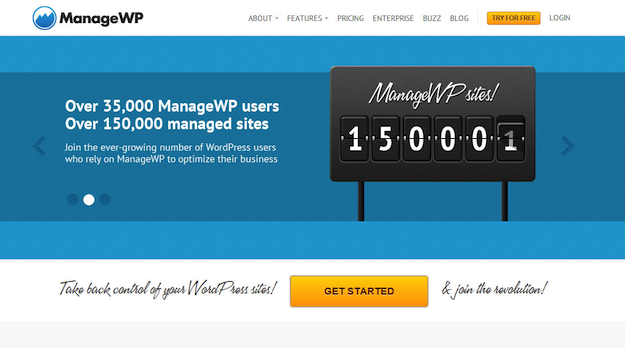 New ManageWP Homepage