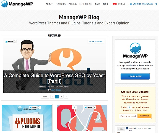 ManageWP - Beautiful WordPress Design