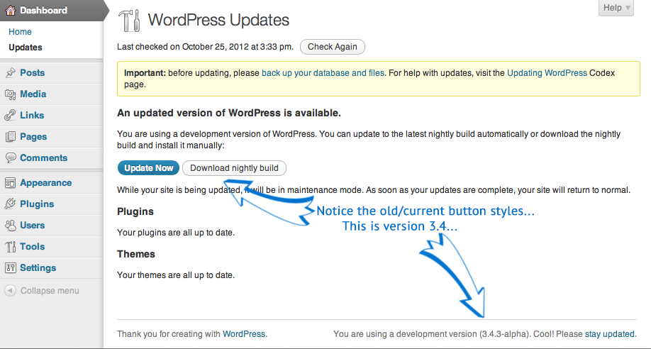 WordPress Beta Point Release updates