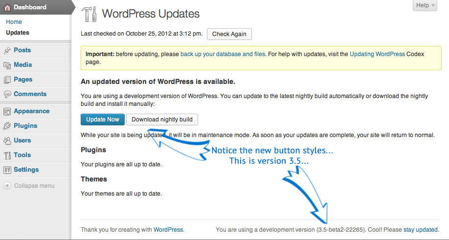 WordPress Bleeding Edge Release updates