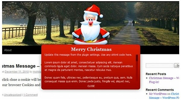 Christmas Message for WordPress