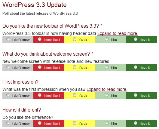 Colored Votes Polls WordPress Plugin