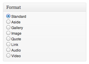 WordPress Post Formats screenshot