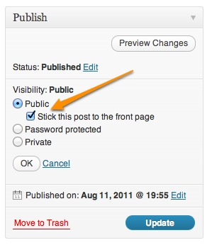WordPress Sticky Posts in post editor