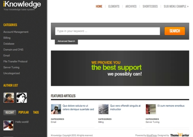 iKnowledge WordPress Theme