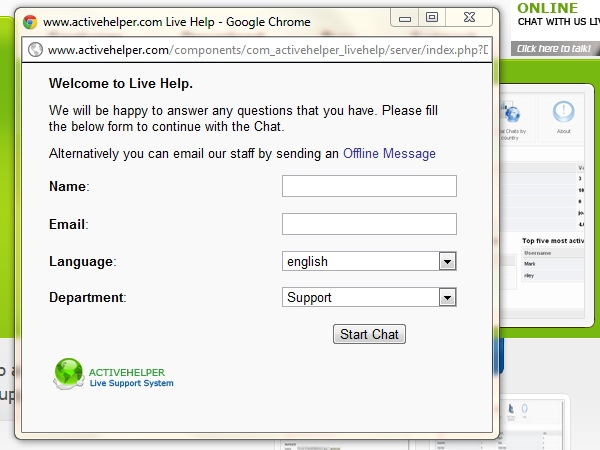 ActiveHelper LiveHelp - Form used to start a chat.