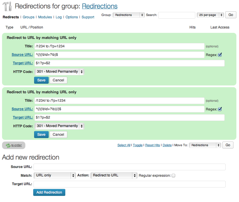 Redirection regex rules