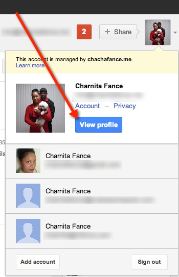 View your Google Plus profile from the drop down menu.