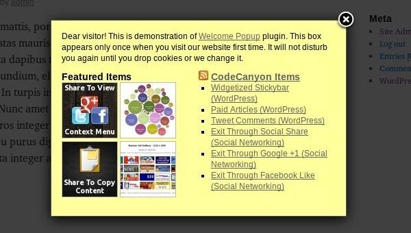 Widgetized Welcome Popup - Premium WordPress Plugin