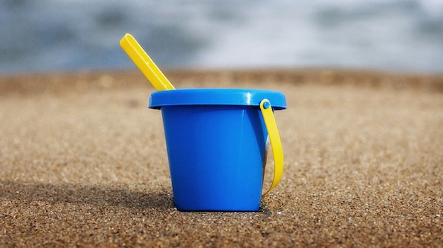 A bucket on the beach