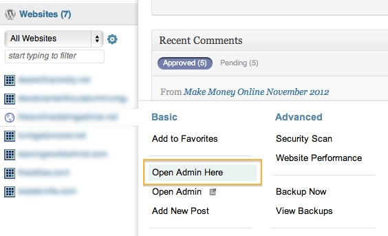 WordPress dashboards