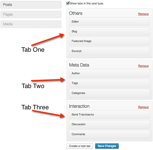 Create multiple tabs and drag and drop meta-boxes to organize them.
