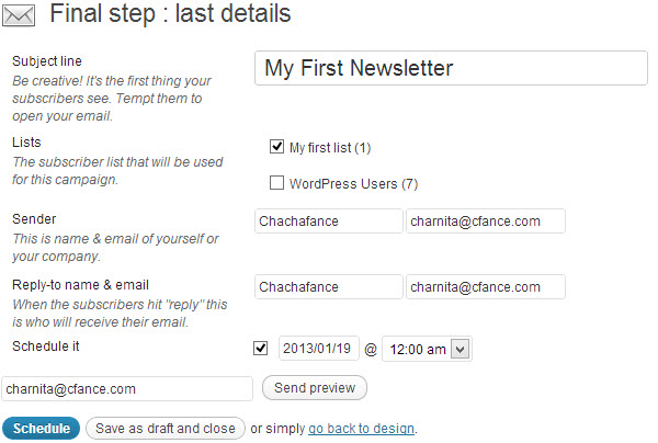 Finalize your newsletter details before scheduling or saving as a draft.