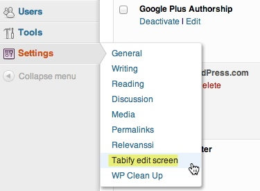 Tabify Edit Screen options under settings menu in WordPress.