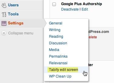 Tabify Edit Screen options under settings menu in WordPress.
