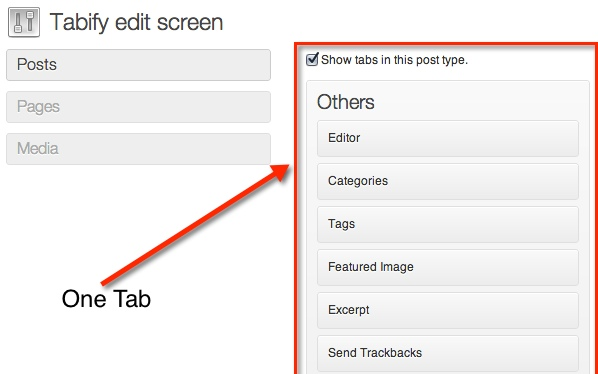 The intial tab section with the list of meta-boxes that will appear on it.