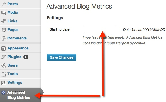 You can customize the starting date for your blog metrics.