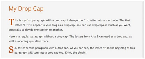 Drop Cap Shortcode WordPress Plugin