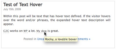 Text Hover WordPress Plugin