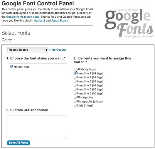 WP Google Fonts WP Plugin