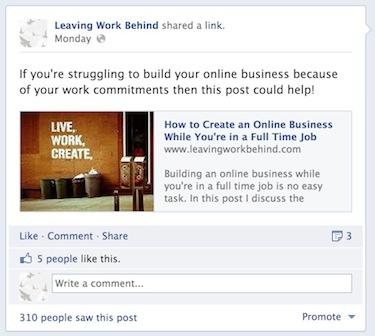 A screenshot of a Facebook status update.