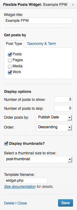 A screenshot of Flexible Post Widget's settings.