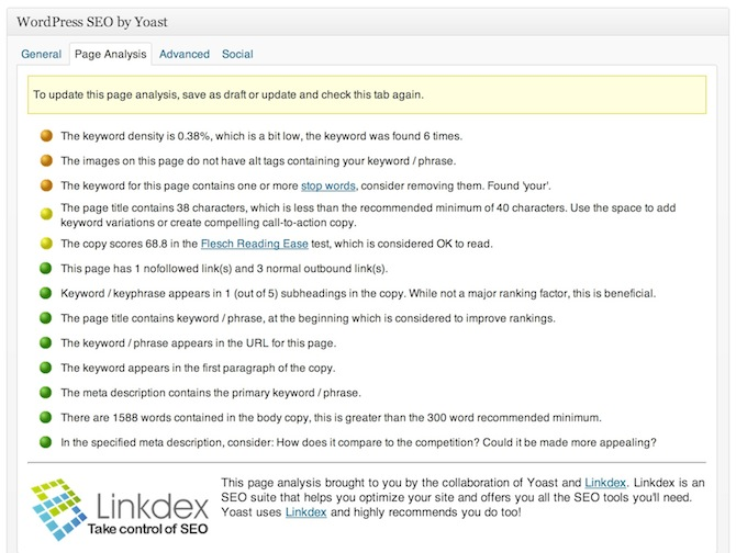 A screenshot of WordPress SEO's Page Analysis tool.