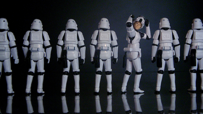 A row of stormtroopers.