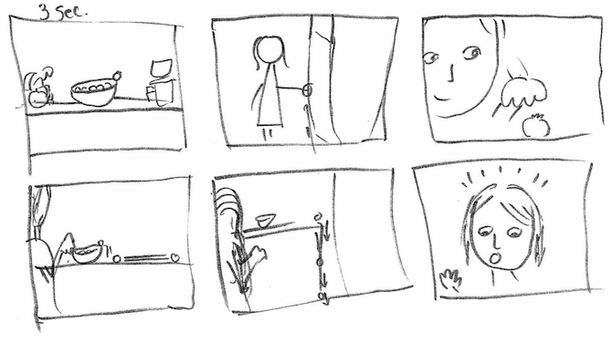 A cartoon storyboard.