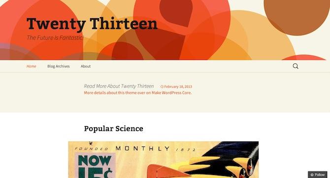 A screenshot of Twenty Thirteen.