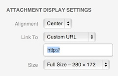WordPress 3.5 Attachment Display Settings screenshot.