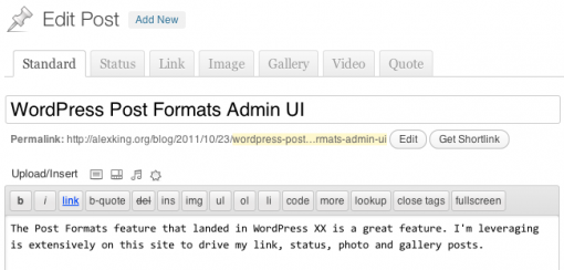 WordPress Post Formats UI