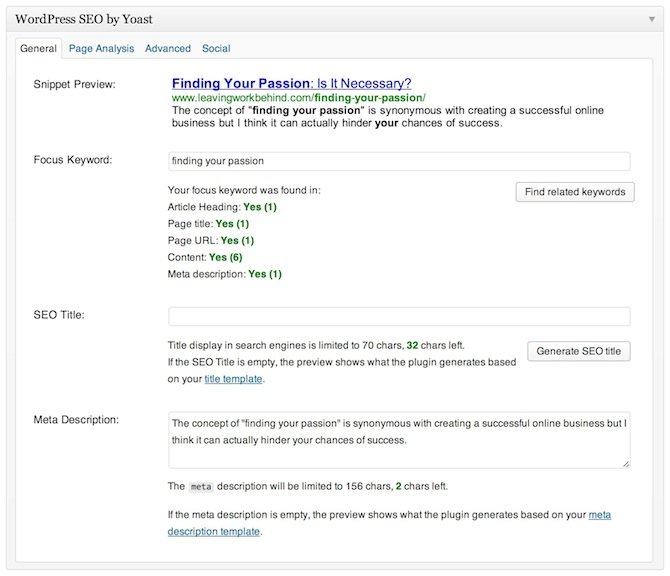 A screenshot of the WordPress SEO by Yoast meta box on the post screen in WordPress.