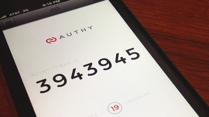 An Authy verification code on a smartphone.