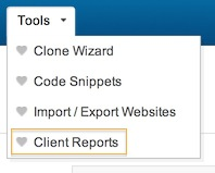 Clients Report toolbar link.