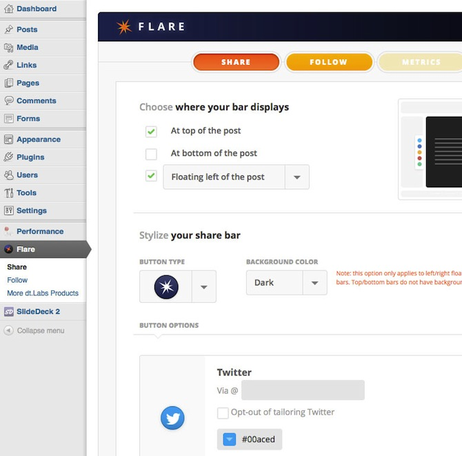 Screenshot of the Flare plugin.