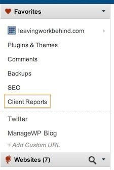 A screenshot of the ManageWP sidebar.