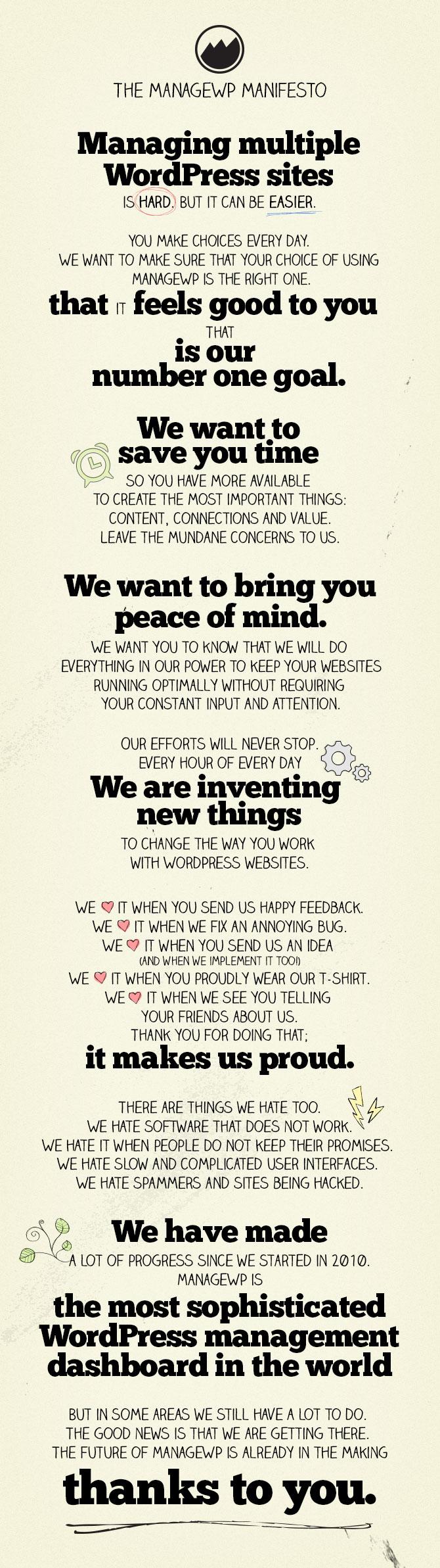 ManageWP Manifesto