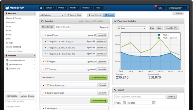 A screenshot of the new ManageWP dashboard.