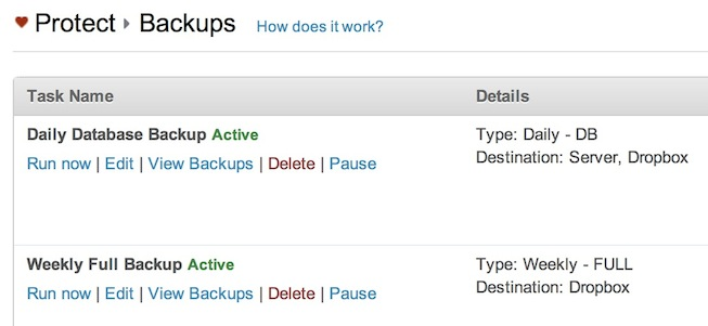 Scheduled backups.