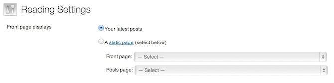 WordPress Reading Settings screenshot.