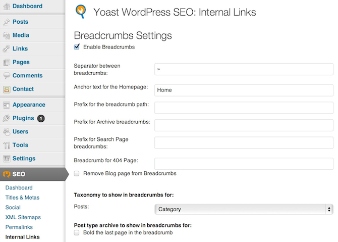 WordPress SEO Internal Links settings page.