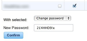WordPress password change option.