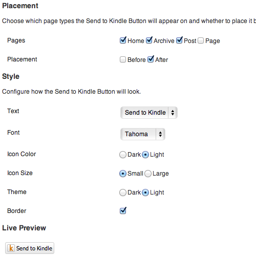 Send to Kindle plugin screenshot.